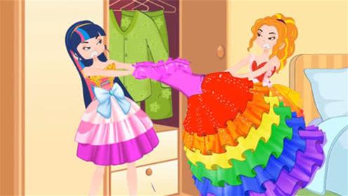 姐妹两个争抢一条裙子,不小心裙子被扯断了,被妈妈逮个现行!