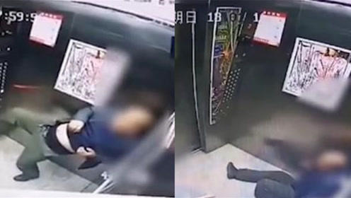 醉酒男子狂踹电梯门导致停运 同乘男孩被吓傻