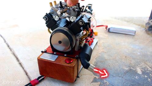 机械牛人改装微型发动机排气管,别看它小,听它轰鸣,笑了