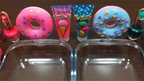 甜甜圈彩泥+护手霜+水晶史莱姆,双盆无硼砂史莱姆教程,手感棒棒哒