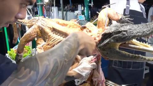 泰国街头美食烤鳄鱼,看完之后才知道,原来他们这么会吃!