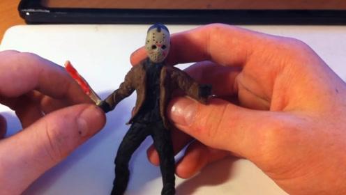 手办:用软泥捏造一个面具男,手里还拿着砍刀