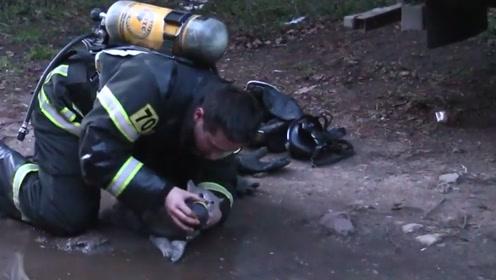 消防员大火中救出小猫 跪地为它输氧