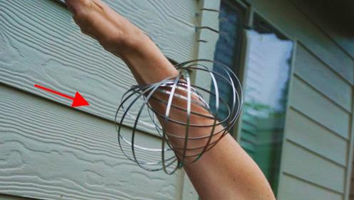 神奇的金属环,不但能在手臂爬行,还能反重力攀爬一段距离!