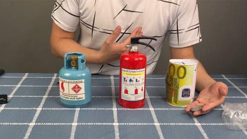 开箱测评三款存钱罐,灭火器、液化气罐也能存钱?你们见过几款?