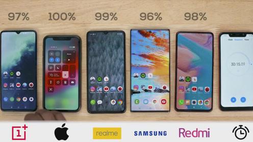 Realme、iPhone11、K20 Pro、一加7T、三星续航对比