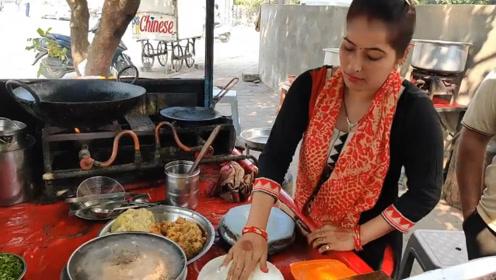 看看漂亮的印度女人怎么做馅饼?人好看,馅饼做的也好吃