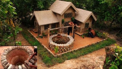 穷小伙在野外建起别墅,自带复古水井很幸福,真是向往的生活!
