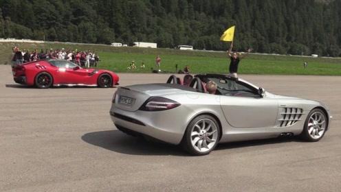 法拉利F12单挑奔驰SLR,什么叫公路F1?眼见为实