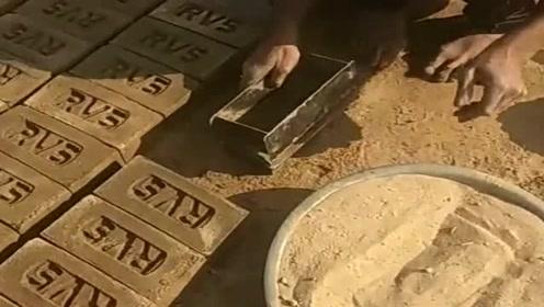 走进印度,在印度的人们,都是这么制作水泥砖的!