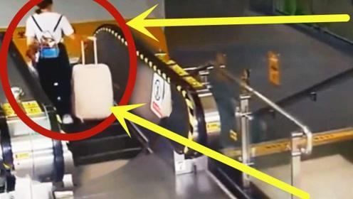 女子坐电梯只顾玩手机,不料行李箱撒腿就跑,下秒大祸酿成!