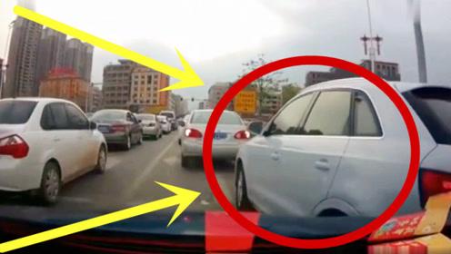 豪车女司机马路强行加塞,不料遇上硬茬子,3秒后被教做人!