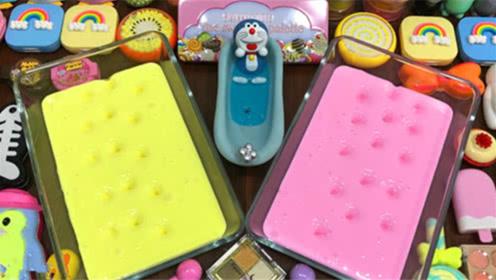 DIY史莱姆教程,两大盘珠光泥混合糖果泥、蝴蝶结泥、雪糕泥