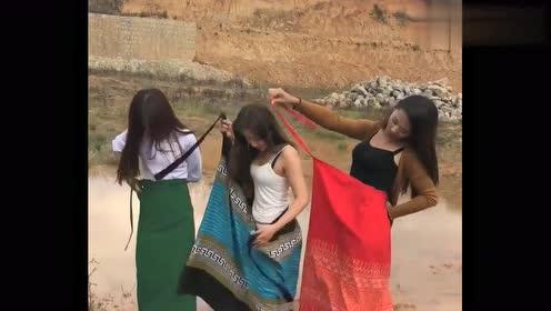 中缅边境缅甸美女竟然打算在这里洗澡