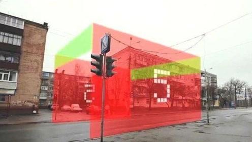"""乌克兰街头出现最强""""红绿灯"""",红绿灯成墙,看谁还敢闯红灯!"""
