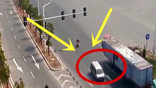 眼看大货车要翻车,小车一脚油门冲了过去,监控拍下惊险瞬间!