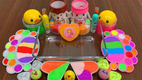 DIY史莱姆教程,小鸭饰品,彩虹水粉泥,爱心米粒泥,手工不错哦