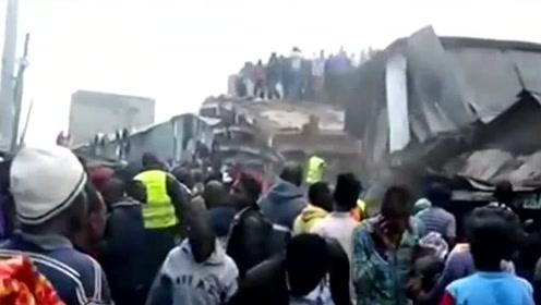肯尼亚一栋6层建筑倒塌 当地居民已徒手救出10人