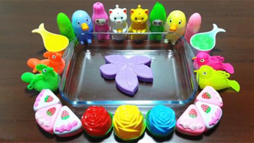 DIY史莱姆教程,紫色风叶混合宠物泥、闪粉、三角蛋糕、玫瑰花