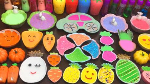 创意史莱姆教程,菠萝果冻泥+炫彩水晶泥+珍珠米粒泥+蔬菜彩泥