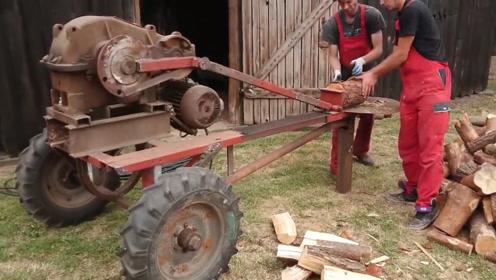 老外发明拖拉机砍柴神器,一天能砍20吨木头,工作时真是太魔性了