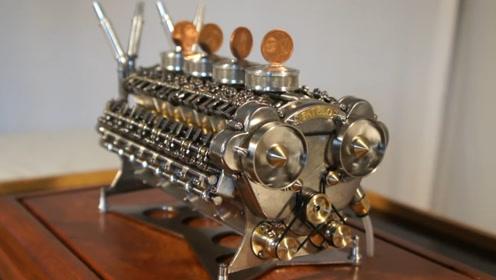 """世界首台""""32缸发动机"""",巴掌大小竖硬币都不倒,不愧是德国制造"""