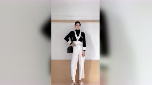 超有气质的黑白搭配,搭配白色裤子优雅气质