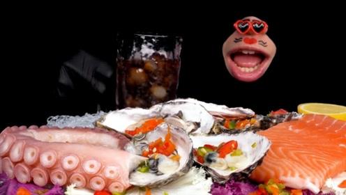 小嘴巴吃播生鱼片生蚝,生章鱼腿也太有嚼劲了,鲜到吃的停不下来!