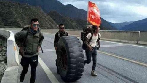 为什么有些徒行去西藏的人,都会滚着一个轮胎?网友:滚出了100万!