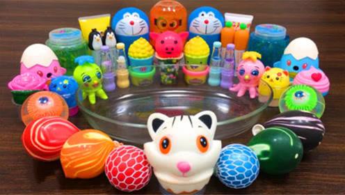 奇趣史莱姆教程,起泡胶+水果果冻泥+彩虹解压球+机器猫彩泥,太好看了