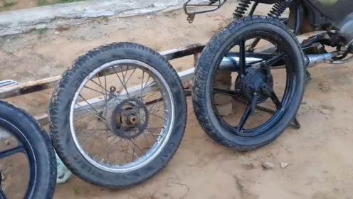 两轮变四轮,印度小哥改装摩托车,成品奇思妙想
