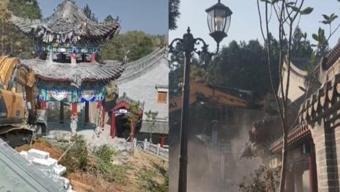 湖南邵东第一豪宅被拆除:违建占地4万平,房主涉嫌违法被调查