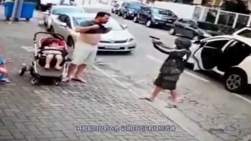 夫妻带孩子逛街,遭持枪男子威胁,壮汉老爸做出最正确的选择!