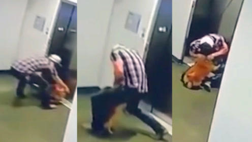 监拍:美一狗狗被关电梯门外险被勒死 男子立即回身解狗绳救一命