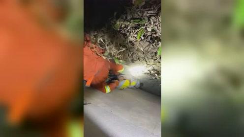 男童掉入墙缝被卡 消防员空中倒挂救援
