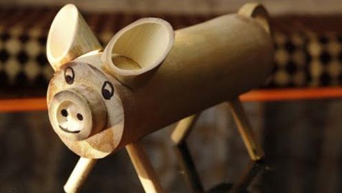 老外用竹子制作存钱罐,成本不足一块钱,网友:可爱又好用