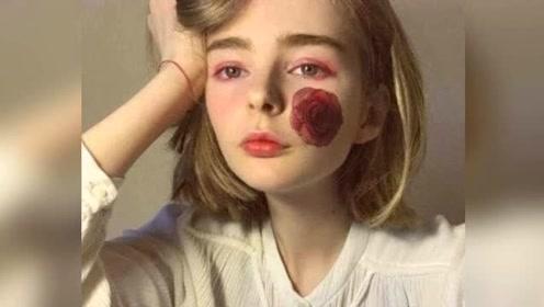 女孩为遮住脸上瑕疵,在脸上刺出一朵红玫瑰,几天后却傻眼了!