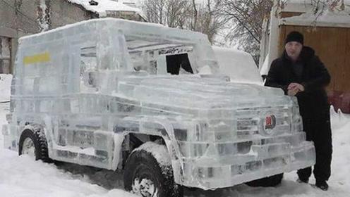 战斗民族的浪漫!大叔6吨冰造奔驰,不止能行驶更抢镜!