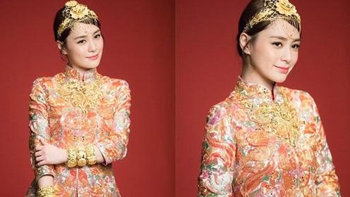 阿娇穿中式礼服拍广告似结婚照 准新娘的盛世美颜盖过珠宝