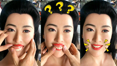 给美女蜡像装假牙是什么体验?