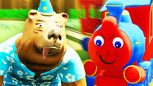 屌德斯解说 醉熊模拟器 铁轨上急中生智练就绝世神功狗熊撞火车!