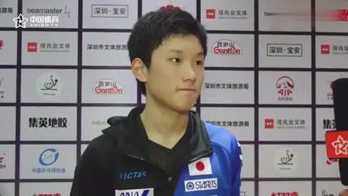 赛后 张本智: 能赢张继科很兴奋,希望长大一岁能打得更好。