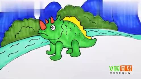 可爱三角龙怎么画 可爱的恐龙宝宝卡通画 三角龙空灵简笔画儿童画画法图片