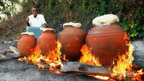 印度土豪老大爷,拿来一盘鸡肉,几个大坛子,看看他是什么吃法?