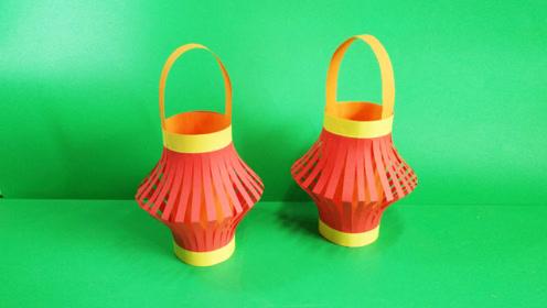 正月十五元宵节,宝妈带孩子做手工红灯笼,张灯结彩闹元宵图片