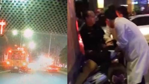 男子骑摩托疾驰追尾校车 行车记录仪拍下事故瞬间