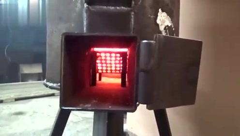 老师傅制作的火箭炉,放在家里温度迅速上升,值得农村家庭推广