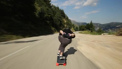 山路滑板这速度真是厉害了,太过瘾了