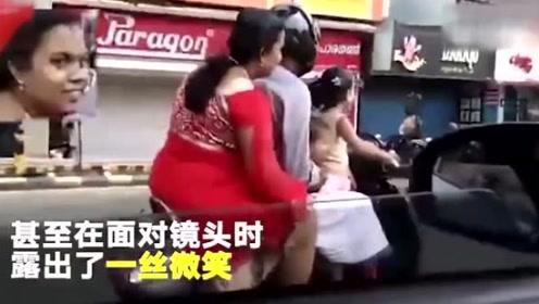 印度5岁女孩骑摩托,上路开始狂飙,后座还有妈妈姐姐
