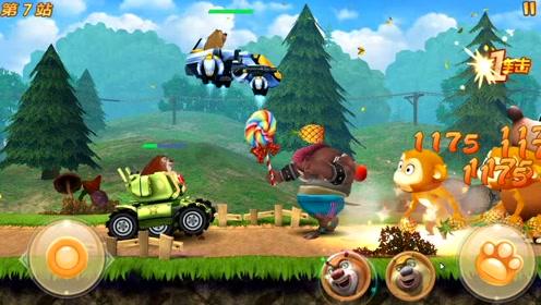 熊出没大野猪无法把熊大的坦克车砸掉,结果被熊大的坦克消灭